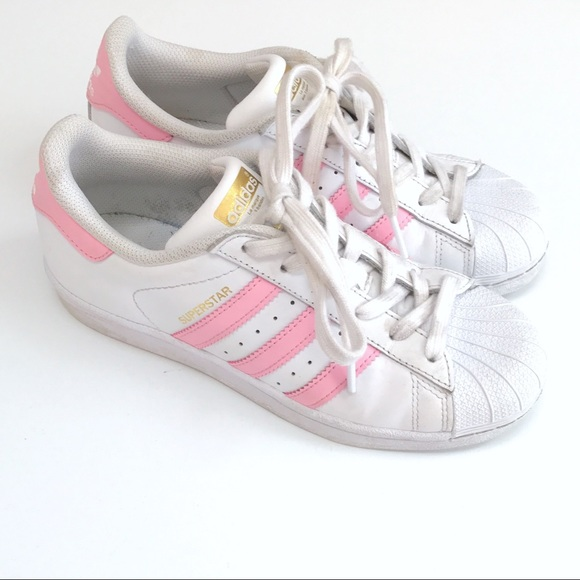 Adidas Superstar WhitePink striped Sneakers NWT